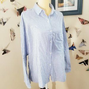 Walter Baker Blue White Stripe Cotton Shirt M